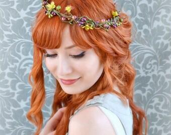 Rustic wedding crown, autumn hair wreath, whimsical head piece, fall hair accessories