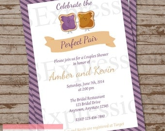 Perfect Pair Peanut butter and Jelly Couples Bridal Shower Invitation