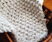 Handknit Cream Newborn Photo Prop Blanket Baby Photography Prop Baby First Photo Prop Baby Blanket Prop