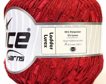 Metallic Red Ladder Ribbon Yarn - Red Ladder Lurex Ribbon Yarn Ice Sparkly All Red Trellis Ribbon Yarn 25954 for Fiber Necklaces, Valentines