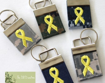 Military Camo Support Ribbon Keychain - Available for every branch of Military!