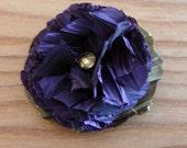 Three taffeta flower pins, hair clip set. Purple. FREE SHIPPING in the US