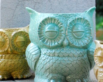extra large ceramic planter owl kitchen utensil holder -ready to ship