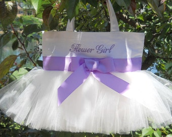 Embroidered Dance Tutu Bag White Bag with White Tulle and Purple Ribbon MINI Tutu Tote Bag - MTB553 - BP