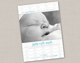 Deco Ruffles Multi-photo Birth Announcement (GIRL or BOY) print your own
