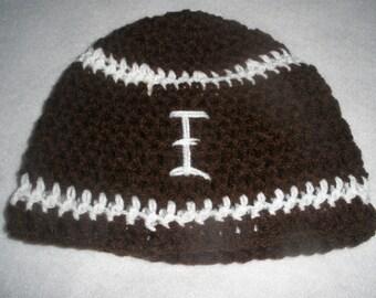 Football Cap beanie Hat - Hand Crocheted - To Fit Newborn - 4 years