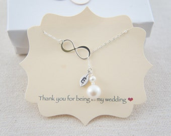 Personalized Sterling Silver infinity with pearl, bridesmaid, wedding gift, love, friendship, tiny leaf, layered necklace, trendy