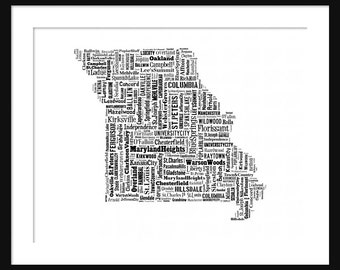 Missouri State Map City Cities Typography Map Poster Print