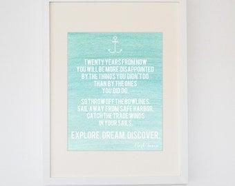 Explore. Dream. Discover Aqua/Coral Watercolor Print