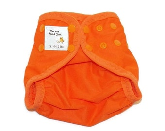 Small PUL Diaper Cover with Leg Gussets- 6 to 12 pounds- Orange- 21013