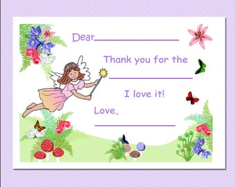 Fairy Fill in the Blank Thank You Notes (Pack of 10) - Girl