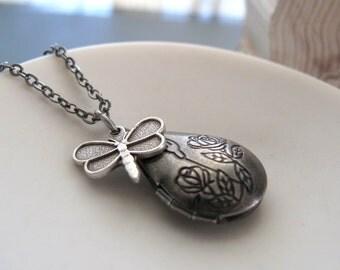 Dragonfly Necklace Teardrop Locket, Antique Silver Necklace Locket, Silver Dragonfly Pendant - DAYDREAMER