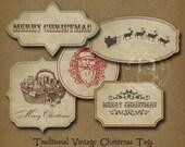 Vintage Christmas Gift Tags Sepia Printable Digital Download