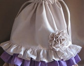 Laundry Bag, Ruffled, Cottage Chic, Ivory, Peach, Lavender, Fabric Rose, Lingerie Bag