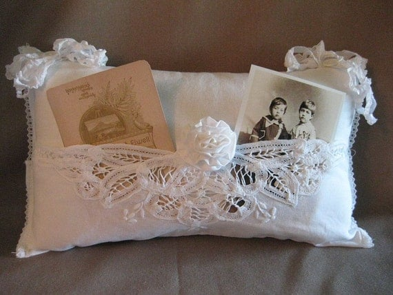 Shabby Chic White Pillow Battenburg Lace by HandmadeByBette