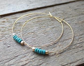 Hoop Earrings, Green Turquoise Beaded Hoop Earrings, Gold Hoop Earrings, Gold Hoops, Howlite Beads, Gold or Silver Hoops