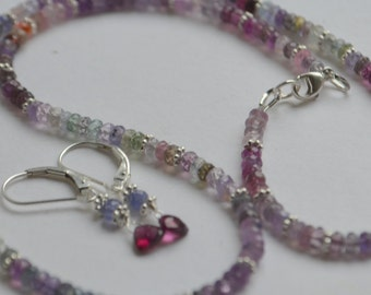 Beaded Sapphire Rondelle and Sterling Silver Necklace, Free Earrings