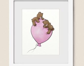 Pink Girls Nursery Balloon Wall Art Childrens Art Print 8 x 10, Teddy Bear Babys Room Decor (268)