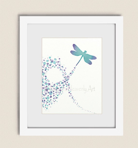 Dragonfly Nursery Wall Decor : Purple aqua dragonfly wall art girls nursery print