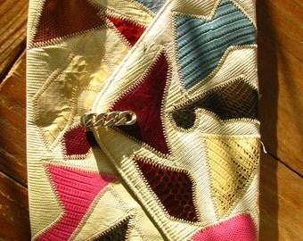 Vintage Mulitcolored Reptile Skin Envelope Clutch Handbag Purse by Original by Caprice