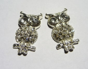 Large Pair of Rhinestone Owl Charms or Beads on Etsy