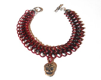 Sugar skull bracelet, Dia de los Muertos jewelry, Day of the Dead bracelet, Red and black chainmaille