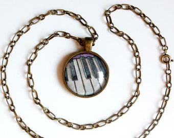 Piano Keys Antiqued Brass Pendant and Chain Necklace, Piano Keys Necklace, Music Necklace