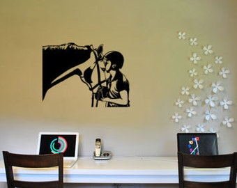 Horse decal-Horse and rider-Horse sticker-Vinyl wall decor-21 X 28 inches