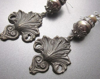 Vinage Metal Dangle Earrings Assemblage Jewelry One of a Kind