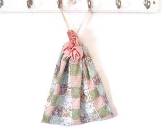 Drawstring bag  patchwork pink blue green lined