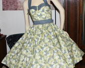 1950's Retro Vintage Style Halter Swing Dress Bombshell Pinup Rockabilly Medium