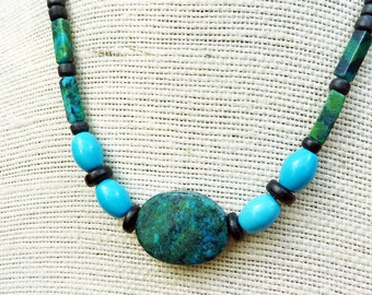 Turquoise Necklace - Yellow Turquoise Beads, Black Wood Beads, Long Beaded Necklace