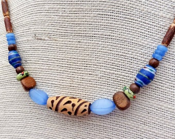 Long Wood Necklace - Blue Catseye Beads, Natural Wood Beads, Long Beaded Necklace