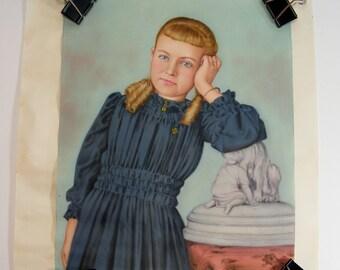 Silk Portrait of Young Girl 1900's  silkscreen scroll