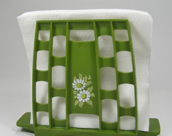 Napkin Holder in Avocado Green and White Daisies 1970's Kitchen Table