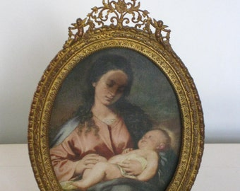 Antique Framed Blessed Virgin Mary and Child Picture, Quadruple Plate Gold Gilt Frame, Ornate Small Frame Madonna Adorned with Angels Floral