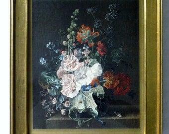 Vintage Framed Hollyhock other Flowers in Vase Print, Jan Van Huysum Gold Gilt Frame, Antique Reproduction Famous Dutch Painter 1682 - 1749