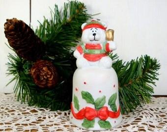 Porcelain Bear Bell, Ceramic Bisque Finish, Chimer, Vintage Christmas Decor, Holiday Decoration   (725-13)