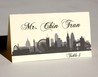 London Place Card City Skyline Wedding Handmade Custom Seating Name Card Escort Card Bridal Other Cities Available