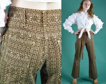 60s MOD High Waist Pants Bell Bottom Pants Retro Tribal Print Bell Bottom Denim Jean Slacks 1960 Stuffed Shirt Hippie Hipster Trousers S / M