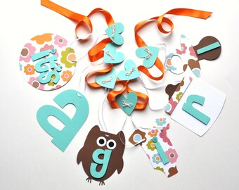 Owl baby shower decorations orange and teal it's a girl banner by ParkersPrints on Etsy