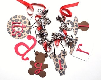 Leopard baby shower decorations cheetah red it's a girl banner with bows by ParkersPrints on Etsy
