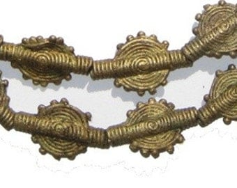 African Brass Baule Beads, Sun Design from Ivory Coast, Full Necklace (BAUL-FLT-BRS-111)