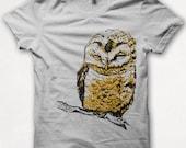Womens Tshirt, Graphic Tee, Owl Shirt, Bird Shirt, Forest and Fin, Screenprint T - Silver