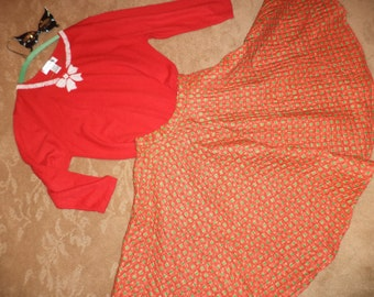 Fifties 50s quilted poodle SKIRT red beaded sweater sz 4 womens Halloween costume Happy Days