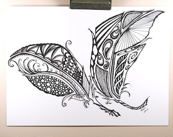 Two Feathers . Original Pen Drawing . Feather Art . Black and White Art . Abstract Art . Tattoo Art