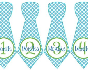 Baby Month Stickers Baby Boy Monthly Milestone Stickers Aqua Blue Lime Green Polka Preppy Tie Month Stickers Baby Shower Gift Seth-T