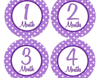 Baby Month Stickers Girl Month by Month Stickers Purple Polka Dot First Year Stickers Monthly Watch Me Grow Baby Shower Gift Photo Prop Tori