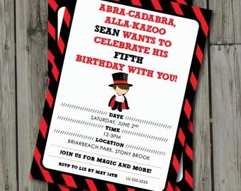 Magic Birthday Party Invitation - Magician Invite - Digital Printable Invite - Magic Invitation Birthday Party