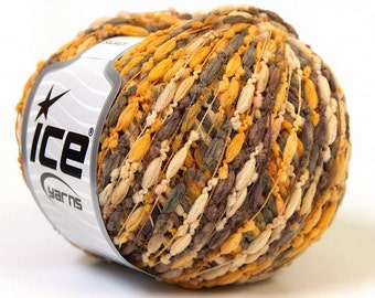 SAUSAGE orange camel brown ice yarns 50gr polyester 4 medium pompom type worsted afghan aran 22221
